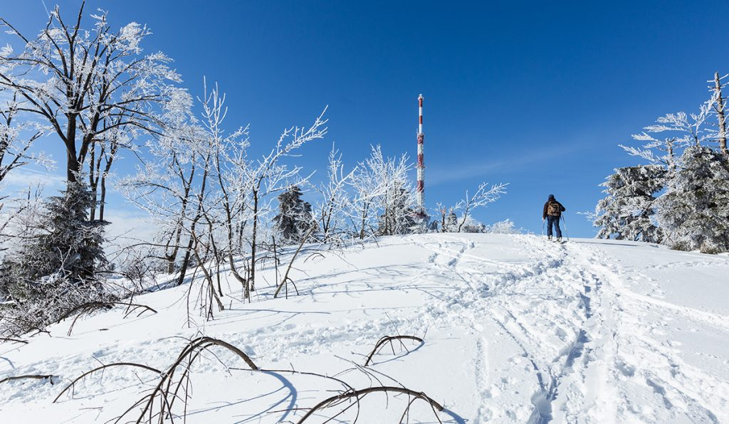 Mathis auf unserer Skitour kurz vor der Spitze des Gaisbergs.